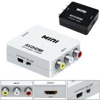 Mini converter input Analog AV RCA ke output to Digital HDMI adapter