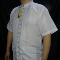 SumberRejekiJeans - Baju Koko Pria Kemeja Muslim Putih Pendek Termurah