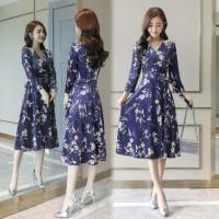 Dress Korea Baju Party Kerja Office Chongsam 1 - Dark Blue, M