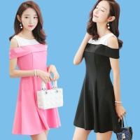 Dress Korea Baju Party Kerja Office Chongsam 5 - Pink, L