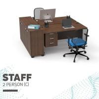 Set Meja Kursi Kerja Staff Kantor 2 Orang Laci Susun 3 Lemari Arsip