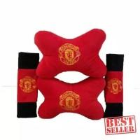 Bantal mobil 2 in 1 MU (bantal kepala,sarung safety belt)