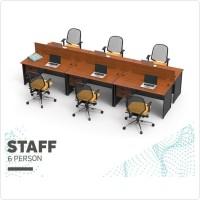 Set Meja Kursi Kerja Staff Kantor 6 Orang dengan Laci Susun 3 & Sekat