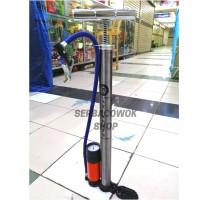 Pompa sepeda ban motor mobil bola panjang + tabung meter stainless