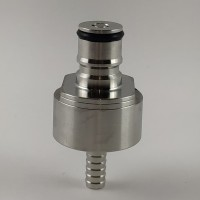 Stainless Steel carbonation cap with 5/16 barb, ball lock