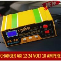Smart Fast Charger AKI Mobil & Motor, Cas AKI 12 V dan 24 Volt 10A NEW