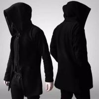 jaket jubah anime hitam polos