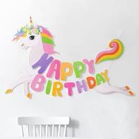 Banner Unicorn Tulisan Happy Birthday