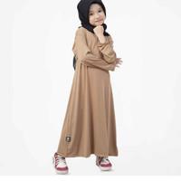 BajuYuli Polos Baju Muslim Gamis Anak Perempuan brown