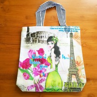 Tas Tote Bag JUMBO BESAR Kanvas Tebal Fashion PRETTY GIRL
