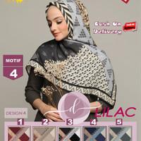 Jilbab Segi Empat Lilac Cotton French Motif 4 By Damia Scarf -Kerudung