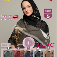Jilbab Segi Empat Lilac Cotton French Motif 5 By Damia Scarf -Kerudung