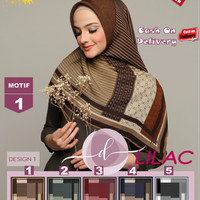 Jilbab Segi Empat Lilac Cotton French Motif 1 By Damia Scarf -Kerudung