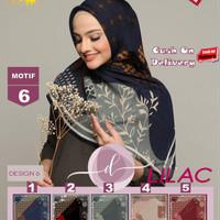 Jilbab Segi Empat Lilac Cotton French Motif 6 By Damia Scarf -Kerudung