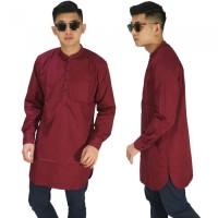 Baju Muslim Kurta Gamis Panjang Polos Maroon/BAJU KOKO MERAH MAROON