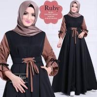 Terlaris!! Baju Atasan Pakaian Wanita Gamis Hijabers Ruby Dress Black
