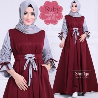 Terlaris!! Baju Atasan Pakaian Wanita Gamis Hijabers Ruby Dress Maroon