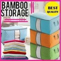 Bamboo Storage Box Warna (organizer Pakaian, Selimut, Bed cover, sprei - HIJAU-STOL