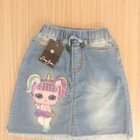 Rok Jeans/denim pendek/mini anak wanita/perempuan gambar LoL biru