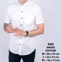 Baju Kemeja Lengan Pendek Casual Pria Putih Polos Slimfit 3222 - Putih, M