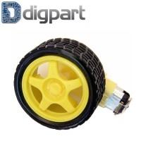 Motor Gearbox Smart Car Robot Tyre 148 Gear Ratio Roda Ban Kuning