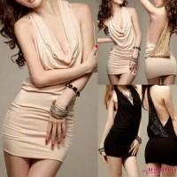 mini Dress Bodycon Sexy Dress Import Bahu Terbuka