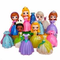 Princess Frozen Sofia Ganti Baju 6 Figure 12 Dress Mainan Topper FG484