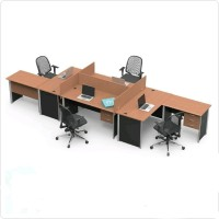 Meja Kerja Staff Kantor Eksekutif 4 Orang Laci Susun 3 dan Sekat Eod