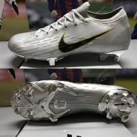 Nike Mercurial Vapor 12 Elite FG Grey Logo Black Gold l Sepatu Bola