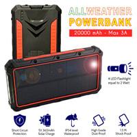 AllWeather Wireless Solar Powerbank 20000 mAh Waterproof 3A Charger