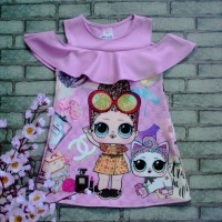Baju Anak LOL Dress motif LOL bahan Scuba Print Depan Belakang_A