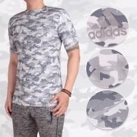 Baju Kaos Gym Fitness Pria   Army Loreng Tentara Adidas Puma Fila UA