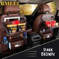 Car Seat Organizer Jok Mobil Multifungsi Kulit Premium Dengan Meja - Cokelat Tua