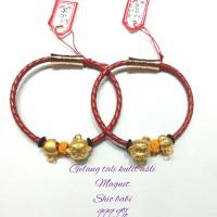 gelang tali kulit asli magnet,shio babi emas 999.9% hongkong(2,47gram)
