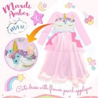 Baju Muslim Gamis Anak Unicorn Satin Tulle Bordir Pink