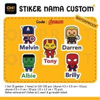 Avengers Stiker / Sticker Label Nama Custom Avengers