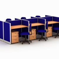 Meja Kantor meja biro partisi serbaguna 6 orang