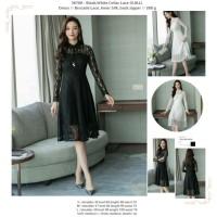 White,Black Collar Lace (S,M,L) Dress -36708