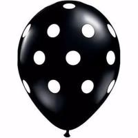 Balon Polkadot - Hitam dot putih   Uk. 12 inch ( 25 cm )