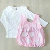 dress overall bayi set 2pcs / gaun anak atasan dan overall model balon