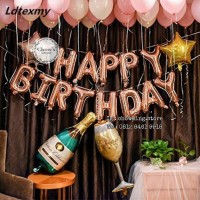 SET Balon Foil Huruf Happy Birthday isi 13 huruf - ROSE GOLD