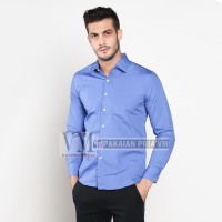 VM Kemeja Formal Polos Panjang Biru Slimfit - Long Slim Shirt Blue