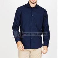 VM Long Slim Shirt Navy Blue - Kemeja basic Slimfit Biru Navy Panjang