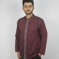 baju koko ad 130 merah maroon katun doby bordir premium grosir