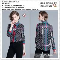 Baju Atasan Kemeja Gucci Wanita Korea Import AB736817 Black Hitam