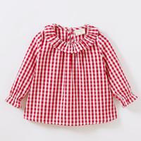 0044 Baju Blouse Anak Perempuan Import Katun Adem Murah Kotak Merah