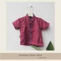 Baju Koko Anak Bahan Linen Premium Warna Merah Maroon