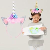Bando Aksesoris Rambut Headband Anak Tanduk Unicorn Rainbow