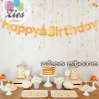 Banner happy birthday / banner ulang tahun motif topi gold