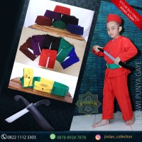 Baju Pangsi Anak Dengan Peci Sabuk dan Golok Kayu